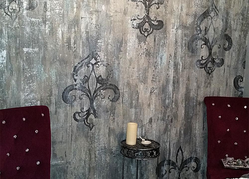 Textured stencil custom designed for salon