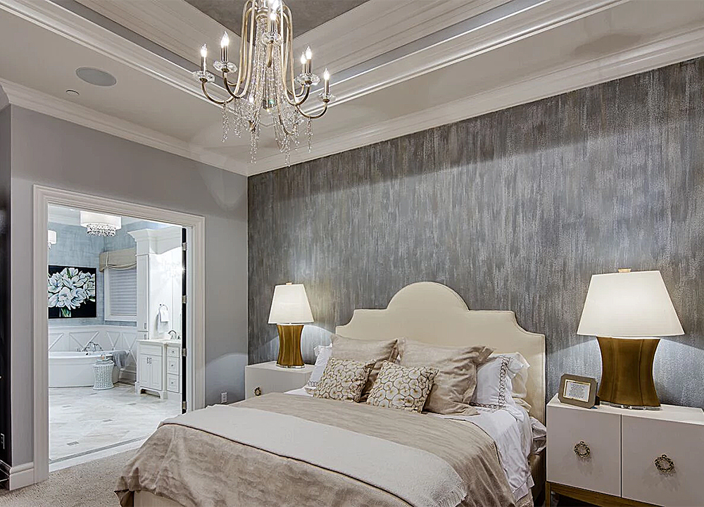 Texttured metallic accent wall for Street of Dreams bedroom wall