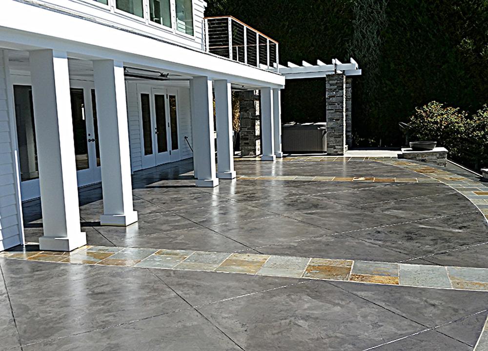 concrete skimstone on outside living area