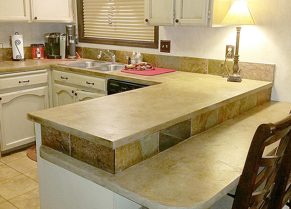 concrete skimstone on kitchen counters