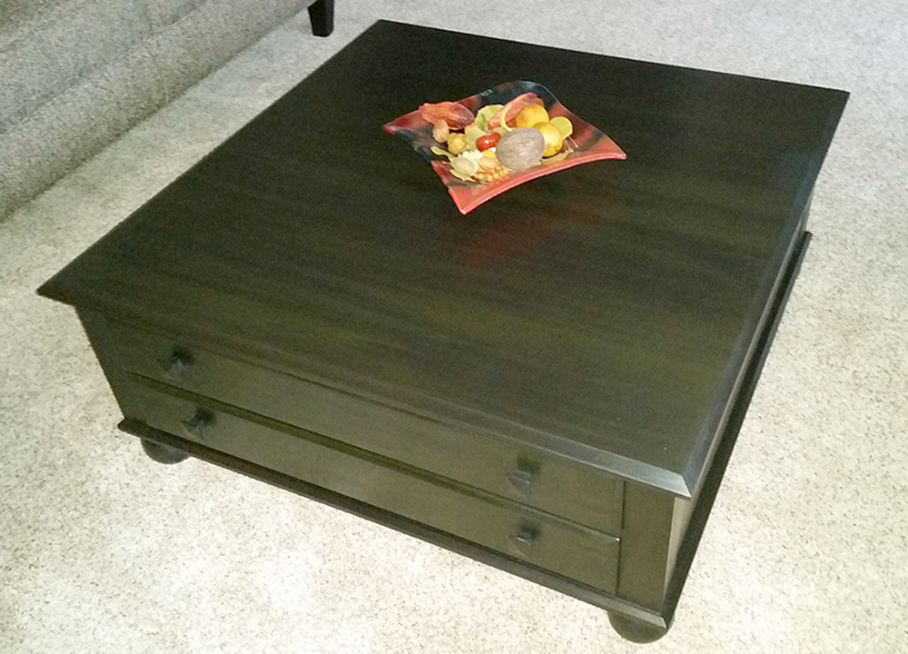 wood coffee table refinished