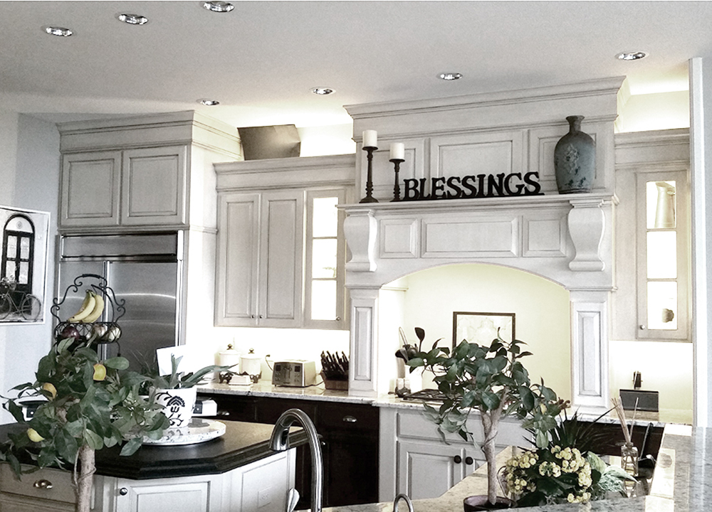 kitchen cabinets painted white and antique glazed